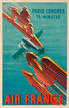 Air France Paris London Valerio, 1938 - original vintage poster by Roger de Valerio listed on AntikBar.co.uk