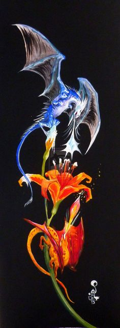 6.5x17 inches, acrylic on watercolor paper, tattoo design for a friend. Prompt: A fire and an ice dragon battling over a lily flower.