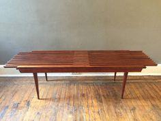 Mid century modern slat bench coffee table danish by VintaDelphia