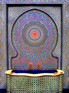 Mosaic Fountain in Fes, Morocco Moroccan Design, Moroccan Decor, Moroccan Style, Islamic Architecture, Art And Architecture, Moorish, Mosaic Art, Mosaics, Marble Mosaic