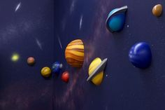 Super fun idea for the walls in your little astronauts bedroom.