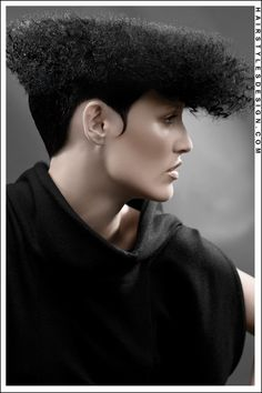 Hair Style: This is an Afro type hairstyle that is thick and has lots of volume. At the back and by the ears, the hair is short. Flattened on top but curly, this is an interesting style. Black Women Hairstyles, Cool Hairstyles, Medium Hair Styles, Natural Hair Styles, Flat Top Haircut, Afro Style, Style Hair, Avant Garde Hair, Short Haircut Styles