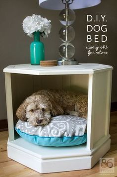 A clever way to repurpose an old side table. #repurpose #furniture #dogbed