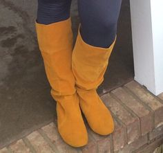 Mustard Slouch Boots! reallyroxie.com