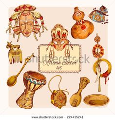 Africa safari ethnic tribe culture travel sketch colored decorative icons set isolated vector illustration - stock vector