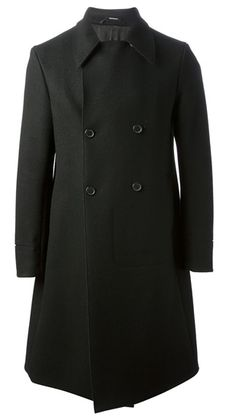 Black wool blend double breasted coat from Jil Sander featuring notched lapels, long sleeves and a button fastening. http://www.farfetch.com/shopping/men/jil-sander-double-breasted-coat-item-10575834.aspx?storeid=9214