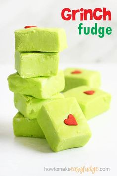 GRINCH FUDGE -- This easy fudge recipe is a fun treat for Christmas. Four ingredients and minutes to make, perfect to watch the Dr. Seuss classic. #thegrinch #grinchfudge #easyfudge #fudgerecipe #christmas #christmasfudge #microwavefudge #condensedmilkfudge #green #DrSeuss