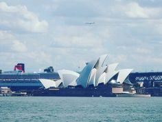 Fortunate photo I took in #sydney One snap got the start of the #sydneyharbourbridge the #sydneyoperahouse  the #queenmary2 and a plane flying above it all! by shaun.coleman.87 http://ift.tt/1NRMbNv