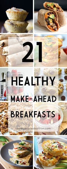 21 Healthy Make-Ahead Breakfast Recipes. 21 healthy make-ahead breakfasts. 21 healthy make ahead breakfast recipes to stock up your fridge or freezer so you can squeeze in an extra 10 minutes of sleep in the morning! Healthy Make Ahead Breakfast, Make Ahead Meals, Healthy Meal Prep, Healthy Snacks, Healthy Eating, Healthy Recipes, Meal Prep For Breakfast, Make Ahead Brunch Recipes, Fodmap Breakfast