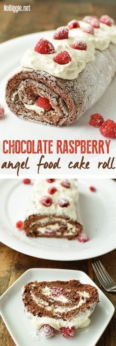 Chocolate Raspberry Angel Food Cake Roll a fancy dessert that is so easy to whip up! Easy Desserts, Delicious Desserts, Dessert Recipes, Yummy Food, Angel Food Cake Desserts, Raspberry Angel Food Cake Recipe, Raspberry Food, Angel Food Cupcakes, Chocolate Roll Cake