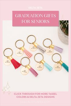 Celebrate your Delta Zeta Grad with these trendy custom keychains! Delta Zeta Grad Gift | DZ Sorority Grad Keychain | College Graduation Gift Idea | Grad Gift for Her | Grad Gift for Girlfriend | Grad Gift for Daughter | Grad Gifts for Best Friends | Best Grad Quotes | Graduation Tassel Keychains #HappyGraduation #SororityGrad Pi Beta Phi, Delta Phi Epsilon, Kappa Alpha Theta, Delta Sorority, Tri Delta, Alpha Delta, Phi Mu, Sigma Kappa, Delta Gamma