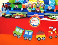 TRAIN PARTY- TRAIN Birthday Party - Train PHOTO PROPS - Boy Party