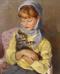 """Marcel Dyf: """"Jeune Fille Avec Chaton (The Kitten)"""""""