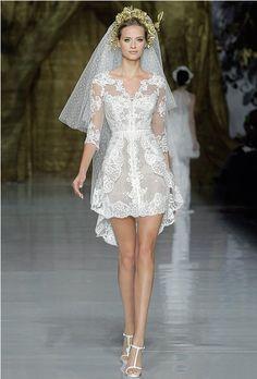 Sweet & Sassy - Short lace wedding dress by Pronovias.