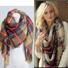"""New Tartan Blanket Plaid scarf wrap shawl checked New Tartan Blanket Plaid scarf wrap shawl checked  Brand New without tags. Retail item. Soft, cozy and warm. Tartan Blanket Plaid scarf wrap shawl checked. Very stunning and classic. So many ways to wear it. Material : 100% Acrylic. Measurement : 60""""x 55"""" Boutique Accessories Scarves & Wraps"""