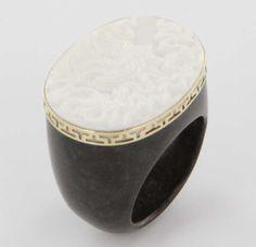 Estate 14 Karat Yellow Gold Black Stone Cameo Cocktail Ring Jewelry from sartoribrosjewelry on Ruby Lane