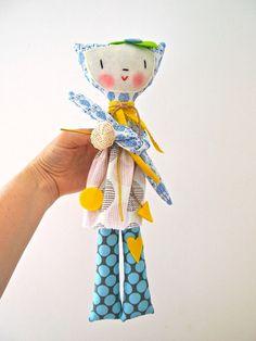 Cloth rag doll cat girl Poco doll