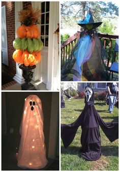 I rounded up my favorite ideas to turn a boring tomato cage into a wonderful Halloween decoration! Just click on the links below to get a tutorial. Tomato Cage Pumpkin Toparies (Pinterest) – Bunch up orange and green deco mesh! Tomato Cage Witch (unknown source) – Use deco mesh for the dress and a styrofoam ball …