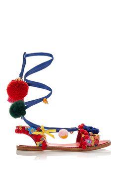 Pom Pom Wrap Around Sandal by DOLCE & GABBANA for Preorder on Moda Operandi