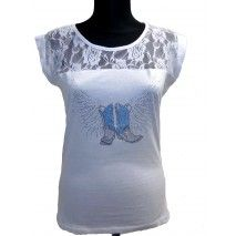 Spitzen T-shirt für Linedance mit Strassmotiv Graphic Tank, Tank Tops, Shirts, Dancing, Women, Fashion, Lace T Shirt, Jackets, Cotton