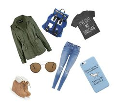 """Untitled #36"" by ellalouwhoatkinson on Polyvore featuring Frame, JustFab and Ray-Ban"
