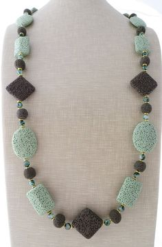 Lava rock necklace long necklace green chunky by Sofiasbijoux