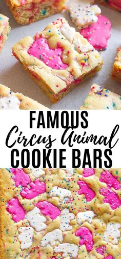 These soft and chewy Famous Circus Animal Cookie Bars are buttery and sweet. Pieces of the famous Circus Animal Cookies are in each bite! Desserts For A Crowd, Best Dessert Recipes, Summer Desserts, Desert Recipes, Fun Desserts, Sweet Recipes, Delicious Desserts, Summer Recipes, Rainbow Desserts