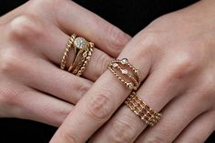 Rosie Fortescue from Made in Chelsea loves her #Pandora rings! A lesson in stacking, take note girls! #Pandora #MIC #gold #rings #stacking #jewellery #inspiredby