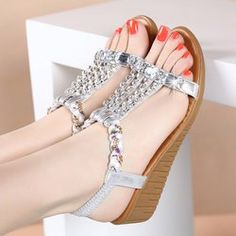 1bdd54744fa5a Women s Summer Metallic Fish Mouth Genuine Cowhide Leather Gladiator Wedge  Sandals with buckle strap