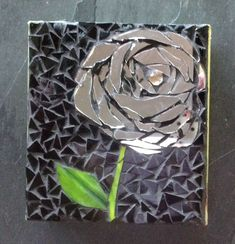 Rose mosaic in black with mirrors Mosaic Wall Art, Mirror Mosaic, Mirror Art, Tile Art, Mosaic Glass, Mosaic Tiles, Mosaics, Mirrors, Mirror Ideas