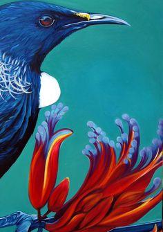 Tui Art Print by House of Nicola - X-Small Pretty Birds, Beautiful Birds, Painting Inspiration, Art Inspo, Tui Bird, New Zealand Art, Nz Art, Creation Crafts, Maori Art