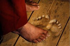 Monk prays 500-1000 times a day, down from 2000-3000 for 20 years. The floor of his monastery bears the shape of his feet. - Imgur