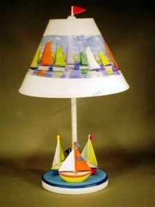 """Three Sailboat Electric Lamp 23"""" from Handcrafted Nautical Decor - In stock and ready to ship"""