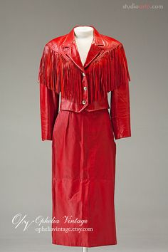 Vintage Cherry Red Leather Fringed Jacket and by OpheliaVintage, $225.00