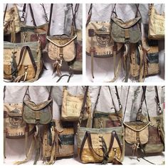 Bags by J.Augur Design - Worn canvas, belts, leather, denim, patches...