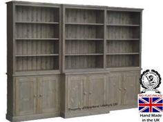 Solid Pine Bookcase 9ft Wide Break Front Display Choice Of Colours