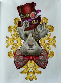 """""""Steampunk Shnauzer"""" from Colour My Sketchbook: Characters by Bennett Klein"""