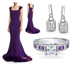 """Own the Purple Carpet!"" by bengarelick ❤ liked on Polyvore featuring Simon G., women's clothing, women, female, woman, misses and juniors"