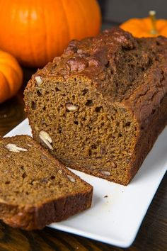 Pumpkin Greek Yogurt Banana Bread-  Just made this and it is SOOOOO GOOD!   NOTE: I didn't use nuts or nutmeg (because I didn't have it), added 1/2 tsp vanilla extract and didn't make the glaze & IT IS AMAZING!