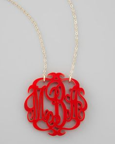 Large Acrylic Script Monogram Pendant Necklace by Moon and Lola at Neiman Marcus.