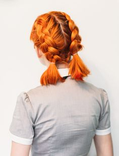 Not in this color just the style. Double Dutch Pigtails for Short Hair | A Beautiful Mess | Bloglovin'