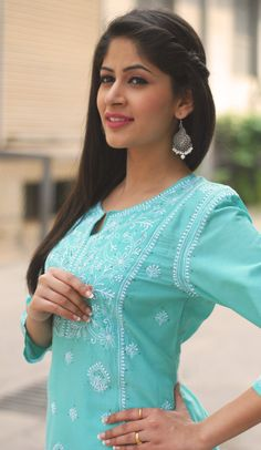 #pastel_blue #kurta, #chikankari #embroidery, only at #fabindia