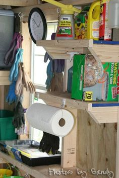 Garden Shed...great Ideas How To Build Shelves And Organize. Paper Towel