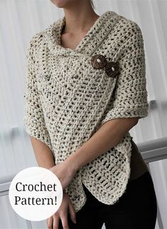 Love, love, love this easy crochet shawl!! Perfect for spring days ahead. $ #crochetpattern