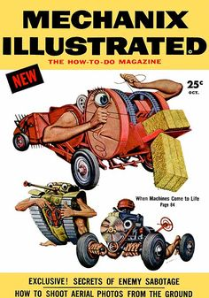 Mechanix Illustrated, Oct. 1954, cover illustrations by Boris Artzybasheff, via Dieselpunks