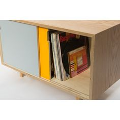 """An elegant and minimalist credenza that is perfectly tailored for keeping your 12"""" records stored safely - and ready when you are. With two sliding doors and an internal divider, it works perfectly as a media unit with optional shelves and cable routing. Made from Baltic Birch plywood with oak venee"""