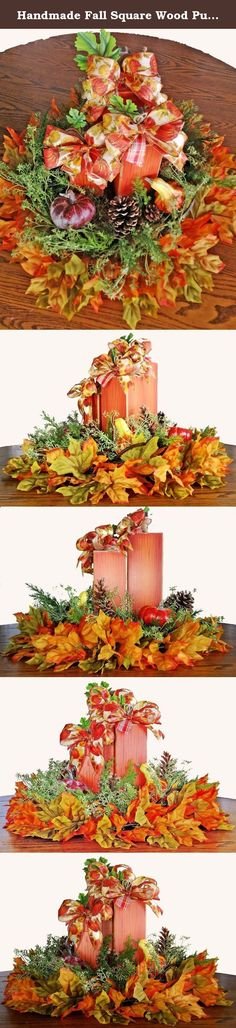 Handmade Fall Square Wood Pumpkin Centerpiece - Autumn Pumpkin Centerpiece - Glass Serving Tray Pumpkin Centerpiece - Fall Pumpkin Pinecone Centerpiece. This wooden square pumpkin centerpiece is decorated in beautiful fall leaves, pinecones and gourds on a pretty rustic glass and wrought iron serving tray. I wired the leaf and greenery to the tray with the pine cones, pumpkins and gourds attached to the greenery. The tray can be used without the decor on it by undoing the wire. The wooden...