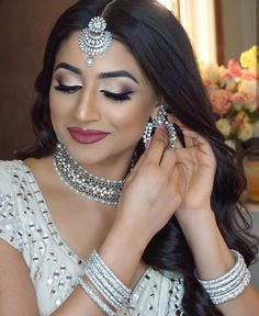 Gold And Silver Earrings Info: 1265162982 Big Fat Indian Wedding, Indian Wedding Jewelry, Bridal Jewelry, Bengali Bridal Makeup, Indian Makeup, Silver Earrings, Silver Jewelry, Silver Necklaces, Indian Culture And Tradition