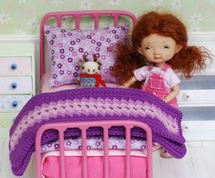 Metal Bed With Accessories For Dolls Quilt Handmade Patchwork Diorama for tiny doll like Irrealdoll, Lati Yellow, Pukiefee -  https://www.etsy.com/listing/277800658/metal-bed-with-accessories-for-dolls?ref=shop_home_listings
