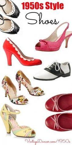 Vintage inspired 1950s style shoes. Find 100+ more at VintageDancer.com/1950s